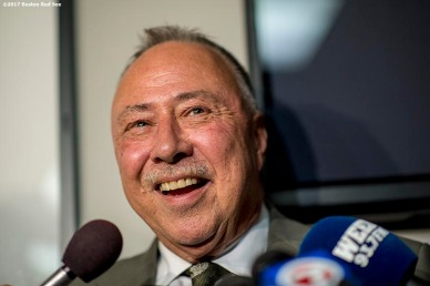 BOSTON, MA - JUNE 12: NESN broadcaster Jerry Remy addresses the media to announce that he has cancer before a game between the Boston Red Sox and the Philadelphia Phillies on June 12, 2017 at Fenway Park in Boston, Massachusetts. (Photo by Billie Weiss/Boston Red Sox/Getty Images) *** Local Caption *** Jerry Remy