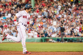 BOSTON, MA - JUNE 12: Andrew Benintendi #16 of the Boston Red Sox rounds the bases after hitting a solo home run during the second inning of a game against the Philadelphia Phillies on June 12, 2017 at Fenway Park in Boston, Massachusetts. (Photo by Billie Weiss/Boston Red Sox/Getty Images) *** Local Caption *** Andrew Benintendi