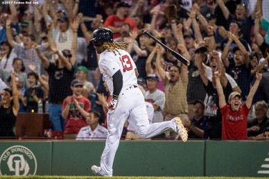BOSTON, MA - JUNE 12: Hanley Ramirez #13 of the Boston Red Sox flips his bat after hitting a game tying solo home run during the eighth inning of a game against the Philadelphia Phillies on June 12, 2017 at Fenway Park in Boston, Massachusetts. (Photo by Billie Weiss/Boston Red Sox/Getty Images) *** Local Caption *** Hanley Ramirez