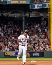 BOSTON, MA - JUNE 12: Hanley Ramirez #13 of the Boston Red Sox rounds the bases after hitting a game tying solo home run during the eighth inning of a game against the Philadelphia Phillies on June 12, 2017 at Fenway Park in Boston, Massachusetts. (Photo by Billie Weiss/Boston Red Sox/Getty Images) *** Local Caption *** Hanley Ramirez