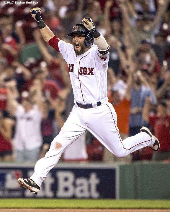 BOSTON, MA - JUNE 12: Dustin Pedroia #15 of the Boston Red Sox reacts after hitting a walk-off single during the eleventh inning of a game against the Philadelphia Phillies on June 12, 2017 at Fenway Park in Boston, Massachusetts. (Photo by Billie Weiss/Boston Red Sox/Getty Images) *** Local Caption *** Dustin Pedroia