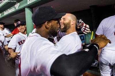BOSTON, MA - JUNE 12: Dustin Pedroia #15 of the Boston Red Sox reacts with teammates after hitting a walk-off single during the eleventh inning of a game against the Philadelphia Phillies on June 12, 2017 at Fenway Park in Boston, Massachusetts. (Photo by Billie Weiss/Boston Red Sox/Getty Images) *** Local Caption *** Dustin Pedroia