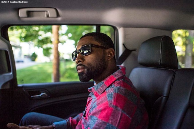 June 12, 2017, Boston, MA: Boston Red Sox center fielder Jackie Bradley Jr. rides in the car on the way to the 2017 Jimmy Fund Rally Against Cancer at the Fisher School in Walpole, Massachusetts Monday, June 12, 2017. (Photo by Billie Weiss/Boston Red Sox)