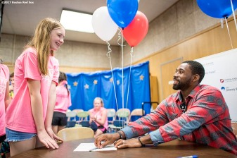 June 12, 2017, Boston, MA: Boston Red Sox center fielder Jackie Bradley Jr. signs autographs during the 2017 Jimmy Fund Rally Against Cancer at the Fisher School in Walpole, Massachusetts Monday, June 12, 2017. (Photo by Billie Weiss/Boston Red Sox)