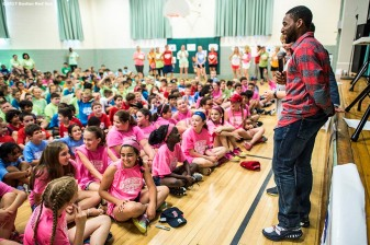 June 12, 2017, Boston, MA: Boston Red Sox center fielder Jackie Bradley Jr. speaks during the 2017 Jimmy Fund Rally Against Cancer at the Fisher School in Walpole, Massachusetts Monday, June 12, 2017. (Photo by Billie Weiss/Boston Red Sox)
