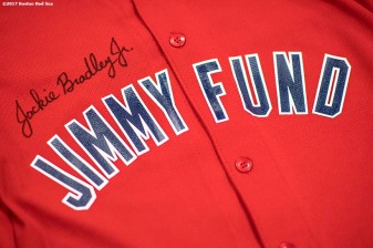 June 12, 2017, Boston, MA: The autograph of Boston Red Sox center fielder Jackie Bradley Jr. is shown on a Jimmy Fund jersey during the 2017 Jimmy Fund Rally Against Cancer at the Fisher School in Walpole, Massachusetts Monday, June 12, 2017. (Photo by Billie Weiss/Boston Red Sox)