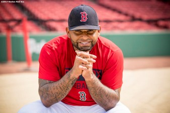 BOSTON, MA - JUNE 13: Pablo Sandoval #30 of the Boston Red Sox poses for a portrait before a game against the Philadelphia Phillies on June 13, 2017 at Fenway Park in Boston, Massachusetts. (Photo by Billie Weiss/Boston Red Sox/Getty Images) *** Local Caption *** Pablo Sandoval