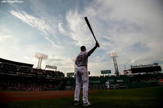BOSTON, MA - JUNE 13: Dustin Pedroia #15 of the Boston Red Sox warms up before a game against the Philadelphia Phillies on June 13, 2017 at Fenway Park in Boston, Massachusetts. (Photo by Billie Weiss/Boston Red Sox/Getty Images) *** Local Caption *** Dustin Pedroia