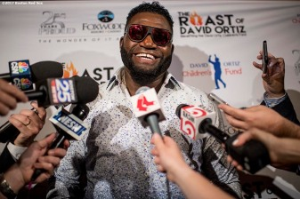 June 22, 2017, Boston, MA: Former Boston Red Sox designated hitter David Ortiz speaks with the media during the Roast of David Ortiz, benefitting the David Ortiz Children's Fund, at House of Blues in Boston, Massachusetts Thursday, June 22, 2017. (Photo by Billie Weiss/Boston Red Sox)
