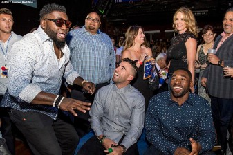 June 22, 2017, Boston, MA: Former Boston Red Sox designated hitter David Ortiz talks with infielder Deven Marrero and center fielder Jackie Bradley Jr. during the Roast of David Ortiz, benefitting the David Ortiz Children's Fund, at House of Blues in Boston, Massachusetts Thursday, June 22, 2017. (Photo by Billie Weiss/Boston Red Sox)