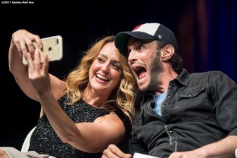 June 22, 2017, Boston, MA: Comedians Sarah Tiana and Josh Wolf pose for a selfie photograph during the Roast of David Ortiz, benefitting the David Ortiz Children's Fund, at House of Blues in Boston, Massachusetts Thursday, June 22, 2017. (Photo by Billie Weiss/Boston Red Sox)