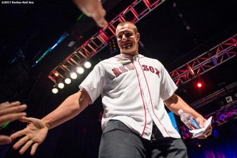 June 22, 2017, Boston, MA: New England Patriots tight end Rob Gronkowski high fives fans during the Roast of David Ortiz, benefitting the David Ortiz Children's Fund, at House of Blues in Boston, Massachusetts Thursday, June 22, 2017. (Photo by Billie Weiss/Boston Red Sox)