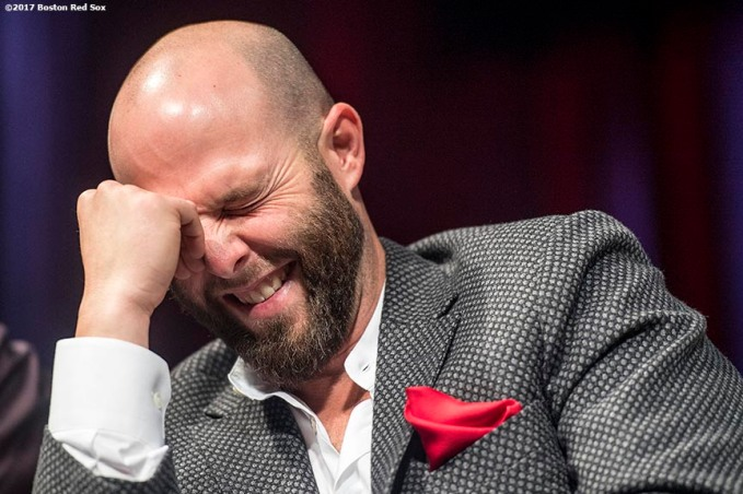 June 22, 2017, Boston, MA: Boston Red Sox second baseman Dustin Pedroia reacts during the Roast of David Ortiz, benefitting the David Ortiz Children's Fund, at House of Blues in Boston, Massachusetts Thursday, June 22, 2017. (Photo by Billie Weiss/Boston Red Sox)