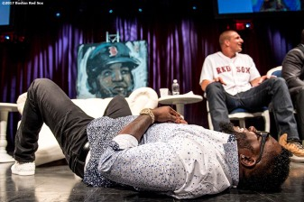 June 22, 2017, Boston, MA: Former Boston Red Sox designated hitter David Ortiz falls out of his chair from laughter as he reacts during the Roast of David Ortiz, benefitting the David Ortiz Children's Fund, at House of Blues in Boston, Massachusetts Thursday, June 22, 2017. (Photo by Billie Weiss/Boston Red Sox)