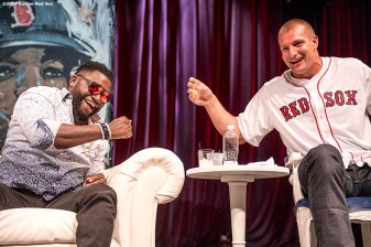 June 22, 2017, Boston, MA: Former Boston Red Sox designated hitter David Ortiz reacts with New England Patriots tight end Rob Gronkowski during the Roast of David Ortiz, benefitting the David Ortiz Children's Fund, at House of Blues in Boston, Massachusetts Thursday, June 22, 2017. (Photo by Billie Weiss/Boston Red Sox)