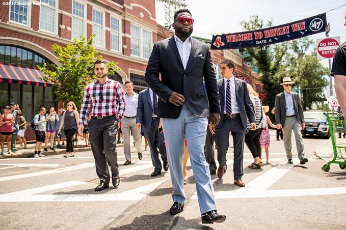 June 22, 2017, Boston, MA: Former Boston Red Sox designated hitter David Ortiz walks along Yawkey Way during the unveiling of David Ortiz Drive, formerly known as Yawkey Way Extension, at Fenway Park in Boston, Massachusetts Thursday, June 22, 2017. (Photo by Billie Weiss/Boston Red Sox)