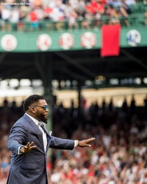 BOSTON, MA - JUNE 23: Former Boston Red Sox designated hitter David Ortiz reacts during a ceremony for the retirement of his jersey number before a game against the Los Angeles Angels of Anaheim on June 23, 2017 at Fenway Park in Boston, Massachusetts. (Photo by Billie Weiss/Boston Red Sox/Getty Images) *** Local Caption *** David Ortiz