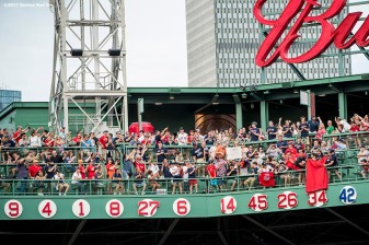 BOSTON, MA - JUNE 23: The number 34 is unveiled during a ceremony for the retirement of the jersey number of former Boston Red Sox designated hitter David Ortiz before a game against the Los Angeles Angels of Anaheim on June 23, 2017 at Fenway Park in Boston, Massachusetts. (Photo by Billie Weiss/Boston Red Sox/Getty Images) *** Local Caption *** David Ortiz