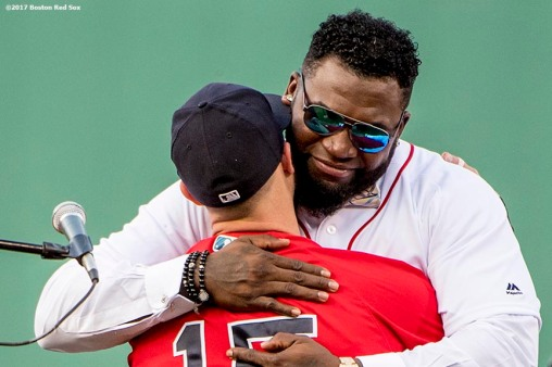 BOSTON, MA - JUNE 23: Former Boston Red Sox designated hitter David Ortiz hugs Dustin Pedroia #15 during a ceremony for the retirement of his jersey number before a game against the Los Angeles Angels of Anaheim on June 23, 2017 at Fenway Park in Boston, Massachusetts. (Photo by Billie Weiss/Boston Red Sox/Getty Images) *** Local Caption *** David Ortiz; Dustin Pedroia