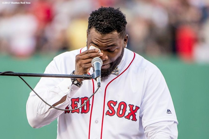 BOSTON, MA - JUNE 23: Former Boston Red Sox designated hitter David Ortiz wipes away tears during a ceremony for the retirement of his jersey number before a game against the Los Angeles Angels of Anaheim on June 23, 2017 at Fenway Park in Boston, Massachusetts. (Photo by Billie Weiss/Boston Red Sox/Getty Images) *** Local Caption *** David Ortiz
