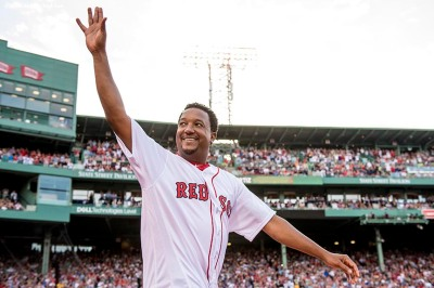 BOSTON, MA - JUNE 23: Former Boston Red Sox left pitcher Pedro Martinez is introduced during a ceremony for the retirement of the jersey number of David Ortiz before a game against the Los Angeles Angels of Anaheim on June 23, 2017 at Fenway Park in Boston, Massachusetts. (Photo by Billie Weiss/Boston Red Sox/Getty Images) *** Local Caption *** Carl Yastrzemski