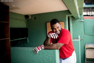 BOSTON, MA - JUNE 24: Pablo Sandoval #48 of the Boston Red Sox reacts before a game against the Los Angeles Angels of Anaheim on June 24, 2017 at Fenway Park in Boston, Massachusetts. (Photo by Billie Weiss/Boston Red Sox/Getty Images) *** Local Caption *** Pablo Sandoval