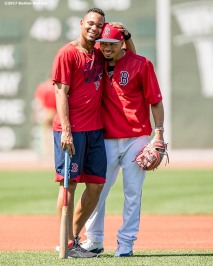 BOSTON, MA - JUNE 24: Xander Bogaerts #2 hugs Mookie Betts #50 of the Boston Red Sox before a game against the Los Angeles Angels of Anaheim on June 24, 2017 at Fenway Park in Boston, Massachusetts. (Photo by Billie Weiss/Boston Red Sox/Getty Images) *** Local Caption *** Xander Bogaerts; Mookie Betts