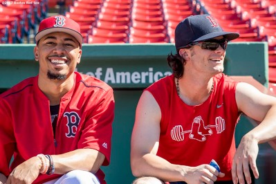 BOSTON, MA - JUNE 24: Mookie Betts #50 reacts with Andrew Benintendi #16 of the Boston Red Sox before a game against the Los Angeles Angels of Anaheim on June 24, 2017 at Fenway Park in Boston, Massachusetts. (Photo by Billie Weiss/Boston Red Sox/Getty Images) *** Local Caption *** Mookie Betts; Andrew Benintendi