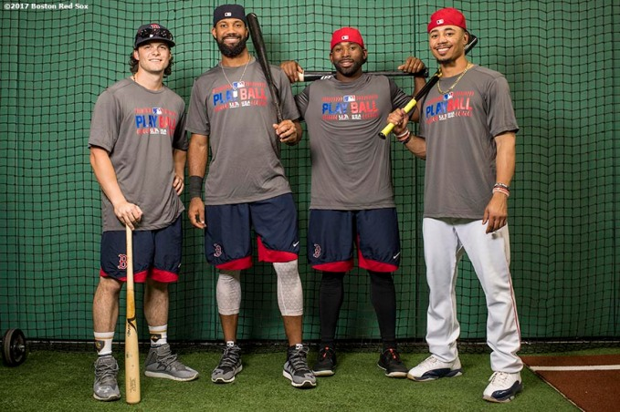BOSTON, MA - JUNE 24: Andrew Benintendi #16, Chris Young #30, Jackie Bradley Jr. #19, and Mookie Betts #50 of the Boston Red Sox pose for a group portrait with the Major League Baseball Play Ball t-shirts before a game against the Los Angeles Angels of Anaheim on June 24, 2017 at Fenway Park in Boston, Massachusetts. (Photo by Billie Weiss/Boston Red Sox/Getty Images) *** Local Caption *** Andrew Benintendi; Jackie Bradley Jr.; Chris Young; Mookie Betts