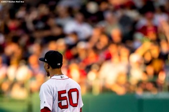 BOSTON, MA - JUNE 24: Mookie Betts #50 of the Boston Red Sox looks on during the second inning of a game against the Los Angeles Angels of Anaheim on June 24, 2017 at Fenway Park in Boston, Massachusetts. (Photo by Billie Weiss/Boston Red Sox/Getty Images) *** Local Caption *** Mookie Betts