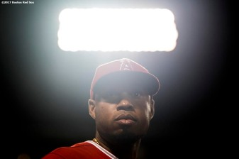 BOSTON, MA - JUNE 24: Luis Valbuena #18 of the Los Angeles Angels of Anaheim looks on during the sixth inning of a game against the Boston Red Sox on June 24, 2017 at Fenway Park in Boston, Massachusetts. (Photo by Billie Weiss/Boston Red Sox/Getty Images) *** Local Caption *** Luis Valbuena