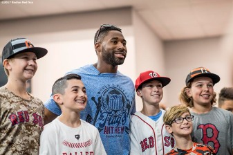 June 26, 2017, Boston, MA: Boston Red Sox center fielder Jackie Bradley Jr. poses for a photograph during a visit to The Base in West Roxbury, Massachusetts Monday June 26, 2017. (Photo by Billie Weiss/Boston Red Sox)