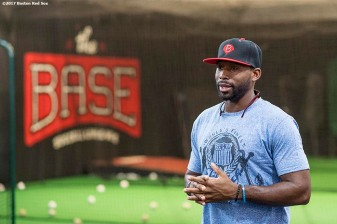 June 26, 2017, Boston, MA: Boston Red Sox center fielder Jackie Bradley Jr. speaks to kids during a visit to The Base in West Roxbury, Massachusetts Monday June 26, 2017. (Photo by Billie Weiss/Boston Red Sox)