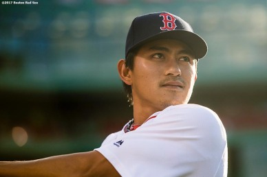 BOSTON, MA - JUNE 26: Tzu-Wei Lin #73 of the Boston Red Sox looks on before a game against the Minnesota Twins on June 26, 2017 at Fenway Park in Boston, Massachusetts. (Photo by Billie Weiss/Boston Red Sox/Getty Images) *** Local Caption *** Tzu-Wei Lin