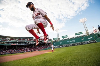 BOSTON, MA - JUNE 26: Chris Young #30 of the Boston Red Sox warms up before a game against the Minnesota Twins on June 26, 2017 at Fenway Park in Boston, Massachusetts. (Photo by Billie Weiss/Boston Red Sox/Getty Images) *** Local Caption *** Chris Young