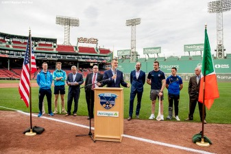 June 27, 2017, Boston, MA: Boston Red Sox president Sam Kennedy speaks during a press conference announcing the AIG Fenway Hurling Classic and Irish Festival at Fenway Park in Boston, Massachusetts Tuesday, June 27, 2017. (Photo by Billie Weiss/Boston Red Sox)