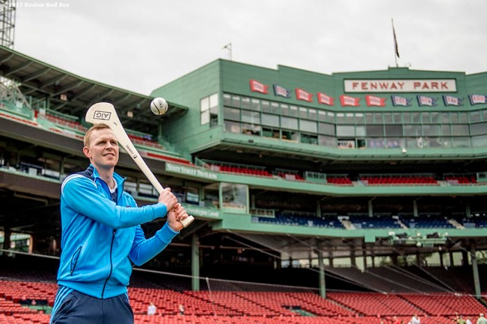 June 27, 2017, Boston, MA: Players demonstrate hurling during a press conference announcing the AIG Fenway Hurling Classic and Irish Festival at Fenway Park in Boston, Massachusetts Tuesday, June 27, 2017. (Photo by Billie Weiss/Boston Red Sox)