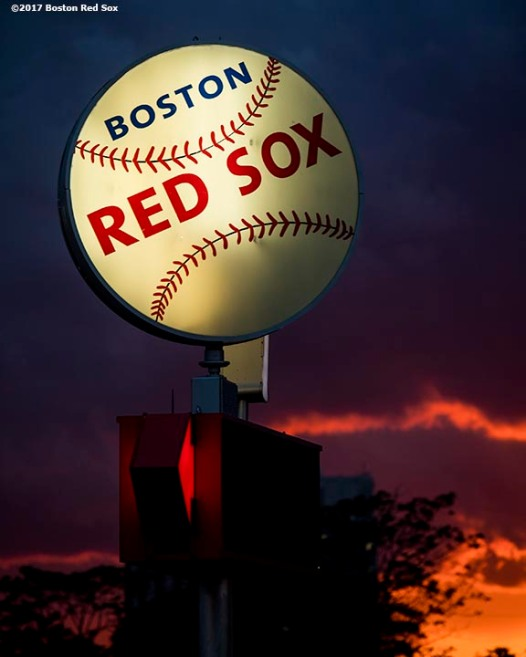 BOSTON, MA - JUNE 27: The sun sets outside of Fenway Park during a game between the Minnesota Twins and the Boston Red Sox on June 27, 2017 at Fenway Park in Boston, Massachusetts. (Photo by Billie Weiss/Boston Red Sox/Getty Images) *** Local Caption ***