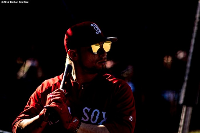 BOSTON, MA - JUNE 28: Christian Vazquez #7 of the Boston Red Sox wears sunglasses as he takes batting practice before a game against the Minnesota Twins on June 28, 2017 at Fenway Park in Boston, Massachusetts. (Photo by Billie Weiss/Boston Red Sox/Getty Images) *** Local Caption ***Christian Vazquez