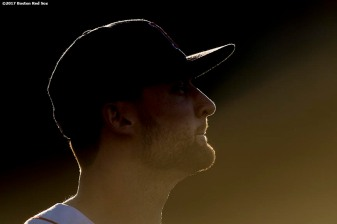BOSTON, MA - JUNE 28: Sam Travis #59 of the Boston Red Sox looks on before a game against the Minnesota Twins on June 28, 2017 at Fenway Park in Boston, Massachusetts. (Photo by Billie Weiss/Boston Red Sox/Getty Images) *** Local Caption *** Sam Travis