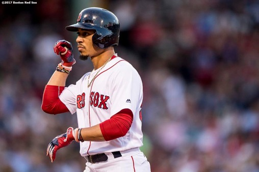 BOSTON, MA - JUNE 28: Mookie Betts #50 of the Boston Red Sox reacts after hitting a single during the third inning of a game against the Minnesota Twins on June 28, 2017 at Fenway Park in Boston, Massachusetts. (Photo by Billie Weiss/Boston Red Sox/Getty Images) *** Local Caption *** Mookie Betts