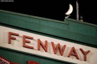 BOSTON, MA - JUNE 28: The moon is shown behind the facade during a game between the Boston Red Sox and the Minnesota Twins on June 28, 2017 at Fenway Park in Boston, Massachusetts. (Photo by Billie Weiss/Boston Red Sox/Getty Images) *** Local Caption ***