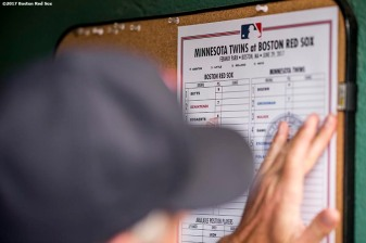 BOSTON, MA - JUNE 29: The lineup card is shown before a game between the Boston Red Sox and the Minnesota Twins on June 29, 2017 at Fenway Park in Boston, Massachusetts. (Photo by Billie Weiss/Boston Red Sox/Getty Images) *** Local Caption ***