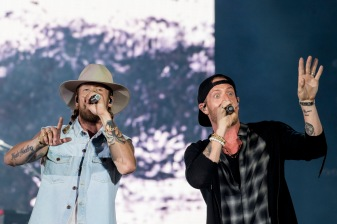 BOSTON, MA - JULY 7: Tyler Hubbard and Brian Kelley of Florida Georgia Line perform during a concert on July 7, 2017 at Fenway Park in Boston, Massachusetts. (Photo by Billie Weiss/Boston Red Sox/Getty Images) *** Local Caption *** Tyler Hubbard; Brian Kelley; Florida Georgia Line