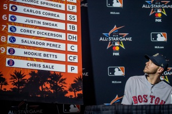MIAMI, FL - JULY 10: Chris Sale #41 of the Boston Red Sox looks at the starting lineup as he is announced as the starting pitcher during Gatorade All-Star Workout Day at Marlins Park on July 10, 2017 in Miami, Florida. (Photo by Billie Weiss/Boston Red Sox/Getty Images) *** Local Caption *** Chris Sale