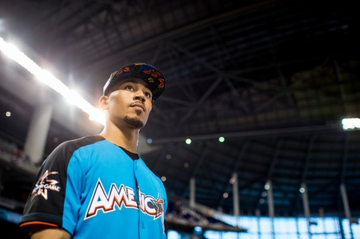 MIAMI, FL - JULY 10: Mookie Betts #50 of the Boston Red Sox looks on during batting practice during Gatorade All-Star Workout Day at Marlins Park on July 10, 2017 in Miami, Florida. (Photo by Billie Weiss/Boston Red Sox/Getty Images) *** Local Caption *** Mookie Betts
