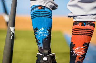 MIAMI, FL - JULY 11: The socks of Mookie Betts #50 of the Boston Red Sox are shown during the 88th MLB All-Star Game at Marlins Park on July 11, 2017 in Miami, Florida (Photo by Billie Weiss/Boston Red Sox/Getty Images) *** Local Caption *** Mookie Betts