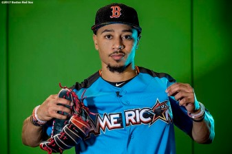 MIAMI, FL - JULY 11: Mookie Betts #50 of the Boston Red Sox poses for a portrait during the 88th MLB All-Star Game at Marlins Park on July 11, 2017 in Miami, Florida (Photo by Billie Weiss/Boston Red Sox/Getty Images) *** Local Caption *** Mookie Betts