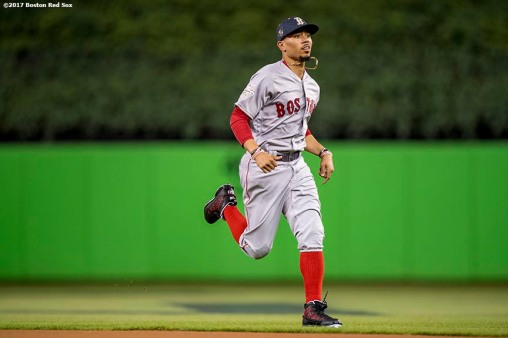 MIAMI, FL - JULY 11: Mookie Betts #50 of the Boston Red Sox warms up before the 88th MLB All-Star Game at Marlins Park on July 11, 2017 in Miami, Florida (Photo by Billie Weiss/Boston Red Sox/Getty Images) *** Local Caption *** Mookie Betts