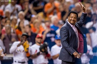 MIAMI, FL - JULY 11: Former pitcher Pedro Martinez of the Boston Red Sox is introduced before throwing out a ceremonial first pitch during the 88th MLB All-Star Game at Marlins Park on July 11, 2017 in Miami, Florida (Photo by Billie Weiss/Boston Red Sox/Getty Images) *** Local Caption *** Pedro Martinez